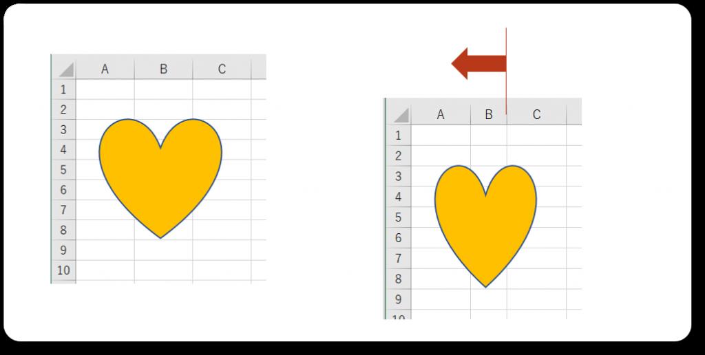 Excel図の縦横比変わる