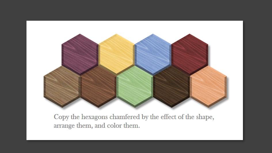 木目調の六角形